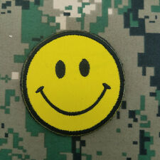 NEW SMILE FACE HAPPY FUNNY YELLOW LOGO EMBROIDERED MORALE HOOK PATCH BADGE