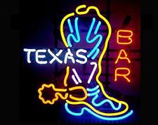 """Texas Boot Bar Neon Light Sign 24""""x12"""" Beer Lamp Decor Glass Bar Artwork"""