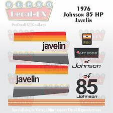 1976 Johnson 85HP Javelin Outboard Repro 15Pc Vinyl Decals Two Loop Charged