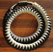 550 Paracord Snake Weave Survival Necklace Silver/Black (21 inches)