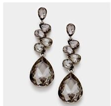 "2.75"" Long Gray Grey Black Dangle Glass Crystal Pageant Rhinestone Earrings"