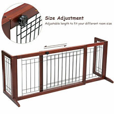 Adjustable Solid Wood Dog Gate Pet Fence Playpen Indoor Construction Stand Free