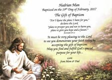 "Personalized Poem Baptism Gift ""Boy Baptism"" on Christ with Boy Background"