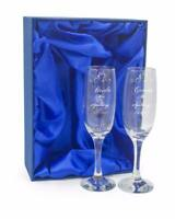 Personalised Engraved Champagne Flutes x 2 Wedding Day Bride and Groom DCF-1
