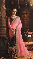 Indian Saree Sari Blouse Rangoli silk Georgette half & half Pink Purple sari UK