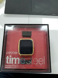 Pebble Time steel gold and red band ,511-00036, Smartwatch , Apple & Android