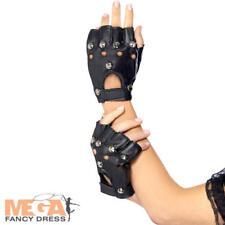 Black Punk Gloves 1980s Rocker 80s Studs Biker Fancy Dress Party Stag Do