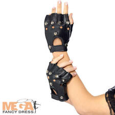 Fingerless Punk Gloves Adults Fancy Dress 80s Rock Band Biker Costume Accessory