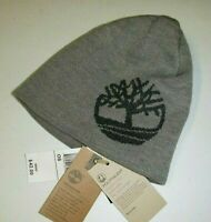 Timberland mens Macys designer acrylic knit beanie reversible logo hat -OS -gray