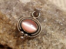 Native American Sterling 925 Pink Cats Eye Stone Pendant