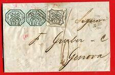 PAPAL STATES 1860 baj.6 x 2 + baj.8 cover ROMA to Genova (208-15)
