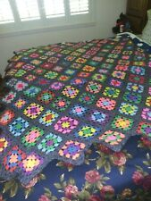 VTG Handmade Crocheted Wool AFGHAN Throw  Multi Color GRANNY SQUARE 72 x 65""