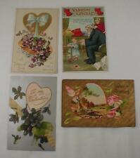 Lot Of 4 Valentines Day Postcards Vintage Embossed Used