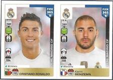 PANINI-2016 FIFA 365- #399-400-REAL MADRID-CRISTIANO RONALDO-KARIM BENZEMA