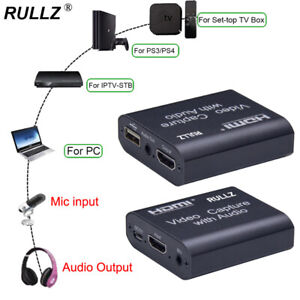 Rullz USB 2.0 Mic Input HDMI Loop Audio Video Capture Card Record Live Streaming