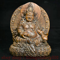 "5.6 ""bois de buis sculpté main Tibet jaune Jambhala richesse Dieu Bouddha Statue"