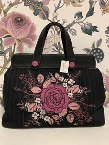 Lulu Guinness Floral Hilary Pinstripe Black Bag (C-3)