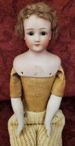 """Antique German Bisque Shoulder Head Lady 10"""" Dollhouse Doll Simon Halbig 1160"""