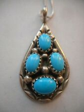 NAVAJO STERLING SILVER  TURQUOISE PENDANT SIGNED Y  + ITALY CHAIN
