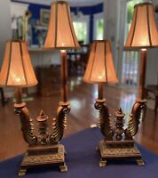 Candelabra Buffett Table Lamps w/Shades, Set of Two, Copper Tone w/Gold Accents