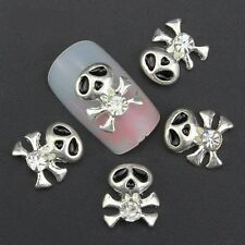 5 x Silver Alloy Rhinestone Skull & Crossbones Nail Art Decorations  (U3)