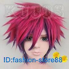 No Game No Life Sora rose red mix purple Short cosplay wig + Free wig cap