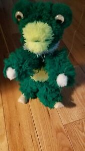 Green and yellow frog Marionettes String Plush Puppet 12 inch Furry Fuzzy.