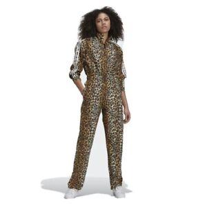 Adidas originals women long sleeve leopard SATIN jumpsuit