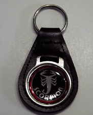 Reproduction Vintage Scorpion Chrome Logo Medallion Leather Keychain