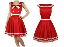 Red Sailor Nautical Dress Banned Apparel Sateen Vintage 1950s Pinup