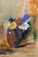 Natalia Demenko Oil painting FLOWERS IN A VASE Impressionism Stylish Modern Art