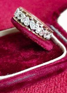Beautiful Vintage 9 Carat Yellow Gold DIAMOND SET HEART FULL ETERNITY Ring 9CT L