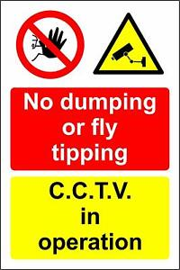 No dumping or fly tipping CCTV in operation safety metal park safety sign