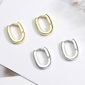 925 Sterling Silver Oval Huggie Hinge Stud Earrings Womens Girls Jewellery Gift