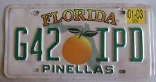 Florida 2003 PINELLAS COUNTY License Plate # G42 IPD