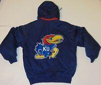 M Vintage Kansas Jayhawks NCAA Football Basketball Logo Athletic Jacket Coat KU