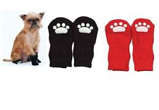 Solid Slipper Socks for Dogs - Set of 4 - Red or Black - 3 sizes - snug fit