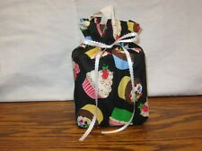 Lots of Cupcakes on black Cotton Fabric Handmade square Tissue Box Cover (Only)
