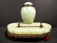 Chinese Carved Hardstone Celadon Serpentine Pen Stand & Inkwell Carnelian Feet