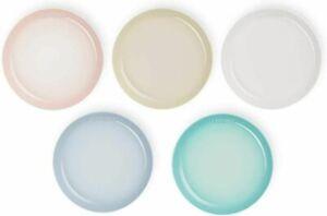 Le Creuset Sphere Plate Dish 22cm Pastel Rainbow 5 Set Japan Limited w/ Tracking