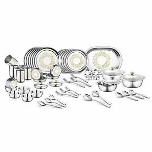 68 Pcs Stainless Steel Dinner Set, Indian Rangoli Laser Printed Designer Set