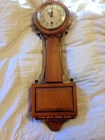 "Vintage Trend Wall Clock Hard Wood Zeeland Michigan USA Wind Up w/o Key 20 1/8"""