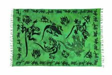 Sarong Pareo Wickelrock Dhoti Lunghi Stickerei Schmetterling Tuch Grün Bali