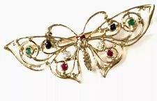 Beautiful Vintage Irish 9ct Gold Emerald Ruby Sapphire Gem Butterfly Brooch