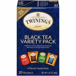 Twinings of London Black Tea Variety Pack with Four Flavors, 20 Count