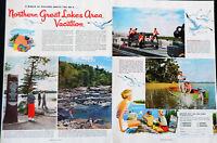 Vtg 1954 Great Lakes Michigan Ontario travel vacation advertisement print ad art