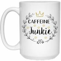 Caffeine Junkie White Ceramic Coffee Mug Funny Novelty Coffee Cup Perfect Gift