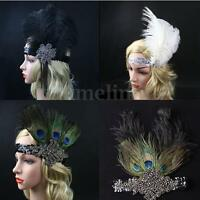 Sequin Feather Flapper Headband 1920s Great Headdress Diamante New
