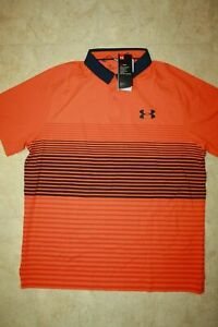 Under Armour Mens Large Iso-Chill Polo Shirt- Orange-Navy-NWT!