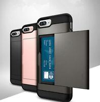 Shockproof Rubber Hybrid Hard Card Slot Holder Case Cover For iPhone 8 6S 7Plus